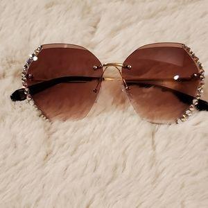 Rimless Rhinestone Sunglasses